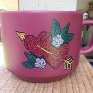 Starbucks dark red hearts mug 12oz